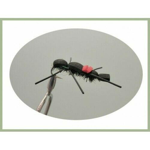 Fishing Flies Foam Bug Trout or Carp Flies 4 Pack Black Ant Bug Size 8