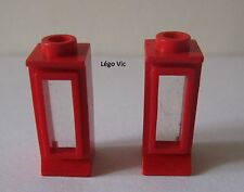 Lego 29bc01 x2  Window 1x1x2 with fixed Glass Red Rouge du 722 700 342