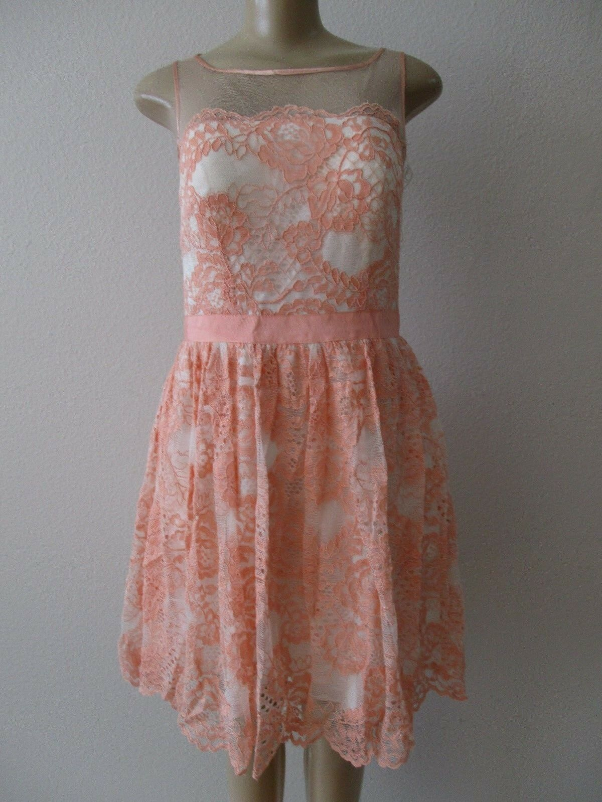 AQUA PEACH LACE-UP FLORAL PARTY SLEEVELESS DRESS SIZE 8 - NWT