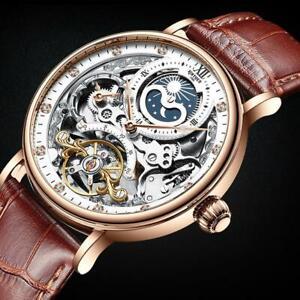 Herren-Dual-Time-Leder-Luxus-Skelett-Automatik-Mechanische-Uhr