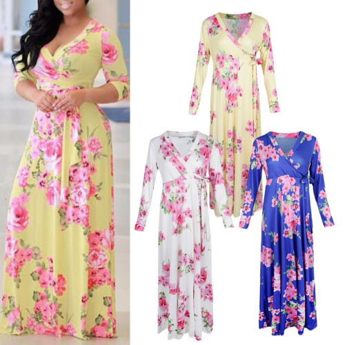 Womens Fashion V-Neck Printed Floral Maxi Long Dress with Waist Belt