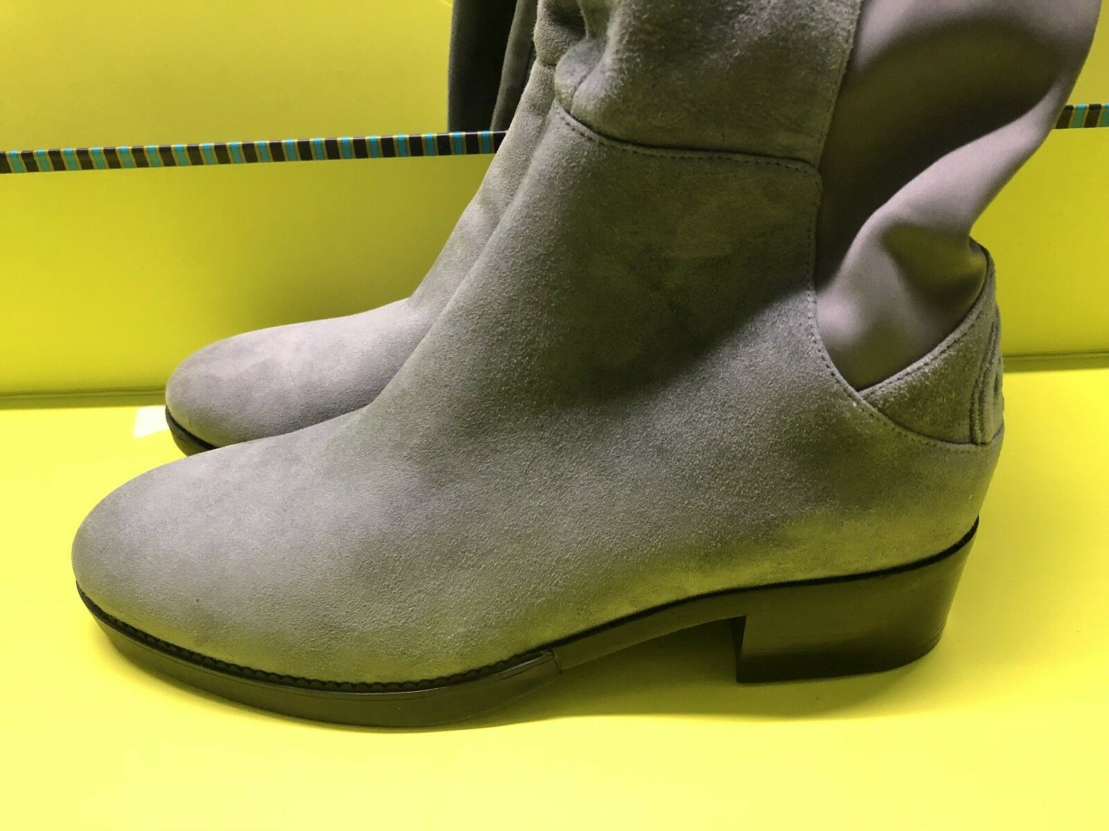 NEW  550 TORY BURCH BURCH BURCH CAITLIN STRETCH SUEDE OVER THE KNEE OTK BOOT 7 DK GREY 5915e9