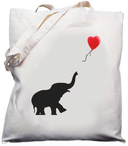 Elephant /& Balloon Design Natural Cream Cotton Shoulder Bag // Shopper //Tote