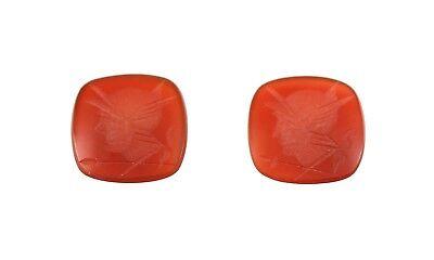 Carnelian intaglio Calibrate size warrior Carnelian 5 loose Cushion Carnelian coin 14x12mm Jewelry roman soldier gemstone  Gemstone Beads