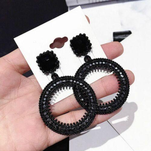 Fashion Femmes Strass Large Cercle Dangle Drop Ear Stud Boucle d/'oreille Bijoux Cool
