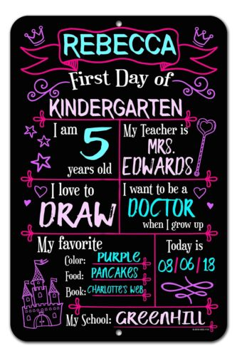 Honey Dew Gifts Large First Day School Princess Chalkboard Style Photo Prop