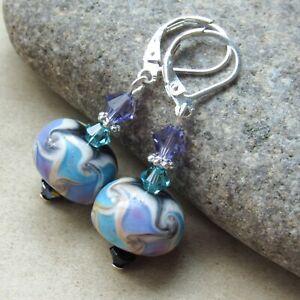 Fine Silver Charms Purple /& Silver Lampwork Beads Silver Lampwork Earrings Purple Dangle Earrings