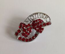 Beautiful Vintage Red Rhinestone Hearts & MOTHER Brooch