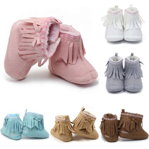 Toddler Newborn Baby Kids Girls Tassels Soft Crib Sole Prewalker Vintage Shoes