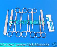 8 PCS SUTURE LACERATION MEDICAL STUDENT SURGICAL INSTRUMENTS SET KIT+5 BLADE #20