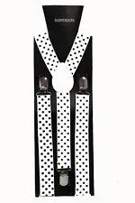 White Black Polka Dot  Adjustable Braces Unisex Fancy Dress Clip On Slim 2.5cm