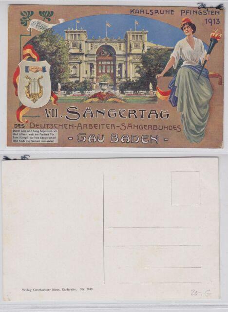 """Postkarte Karlsruhe """"VII Sängertag des Dt. Arbeiter Sängernundes"""" -PO080"""