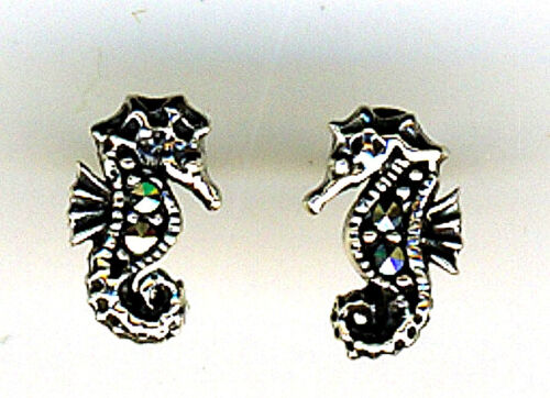 Seahorse Stud Earrings 925 Sterling Silver set with marcasite Stones 15mm