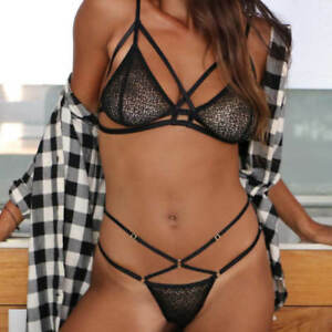 690b981be3 Details about Delicate Sexy Black Strappy Harness Lace Bralette Bra Mesh Cage  Underwear Set