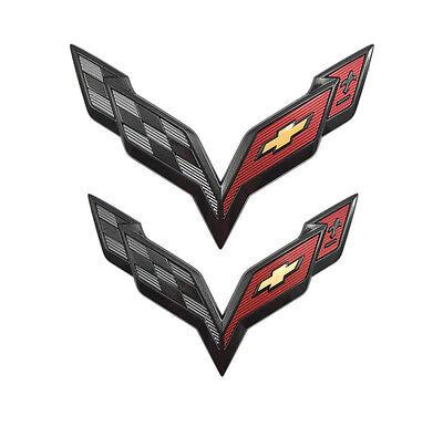 Black Carbon Flash C7 Corvette OEM GM Rear Fascia Trunk Crossed Flags Emblem