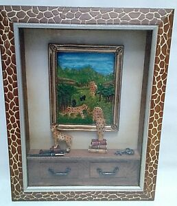 Large Frame Animal Print Tiger Safari Wall Scene Shadow Box
