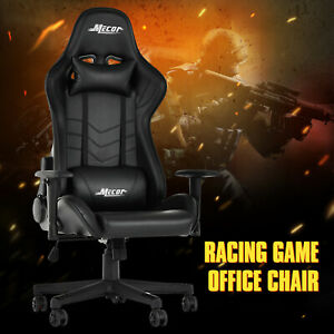 High-Back-Recliner-Racing-Game-Office-Chair-Ergonomic-Leather-Swivel-Chair-Black