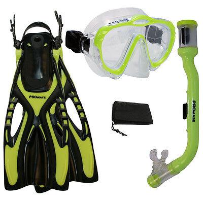 Children Boy Girl Kids Dive Mask Dry Snorkel Fins Snorkeling Gear Package Set