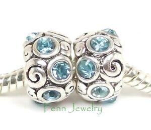 2pcs Aqua Blue Crystal Spacers March Birthstone Bead for European Charm Bracelet