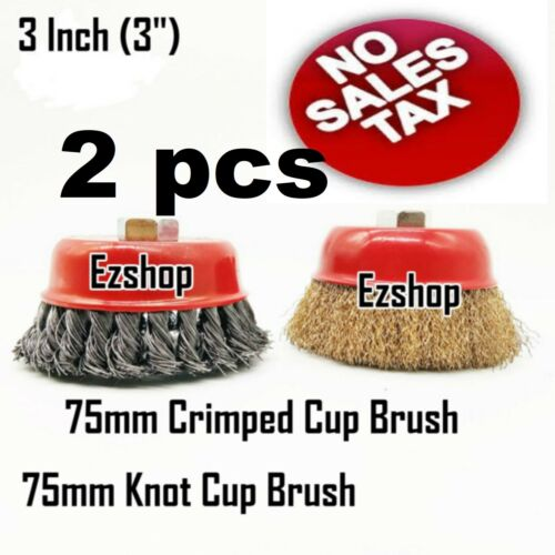 """2pc 3/"""" Twist Knot /& 3/"""" Crimped Cup Wire 5//8/""""-11 Threaded Arbor Wire Cup Brush"""