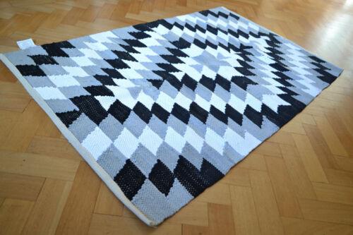 Harlequin Pattern Cotton Rug Rag Black Grey White HandMade Woven 90x150cm 3x5