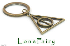 Bronze Plated Harry Potter Deathly Hallows Keyring Key Chain Film Wizard