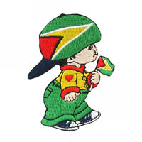 Guyana Little Boy Country Flag Iron-on Patch Crest Badge Size: 3 X 2 Inch