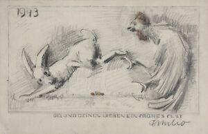 """Ostergrüße, Grußkarte, Hase, Hahn, Ostereier, Zeichnung, signiert """"Emilio"""" 1943"""