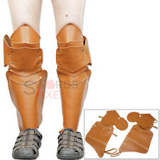 Leather Medieval Greaves Armor Pair - Excellent for LARP Leg Armour Knight