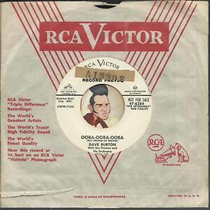DAVE-BURTON-OOBA-OOBA-OOBA-ROCKABILLY-BLACK-R-amp-B-BOPPER-WLP-PROMO-45-RPM-RECORD