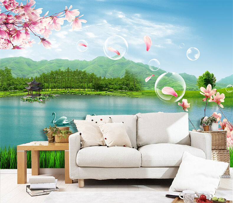 3D Lake Flying Flowers 16 Paper Wall Print Wall Decal Wall Deco Indoor Murals