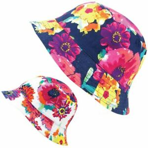 7d353408cf5998 Image is loading Reversible-Bucket-Hat-Floral-Summer-Sun-Beach-Holiday-