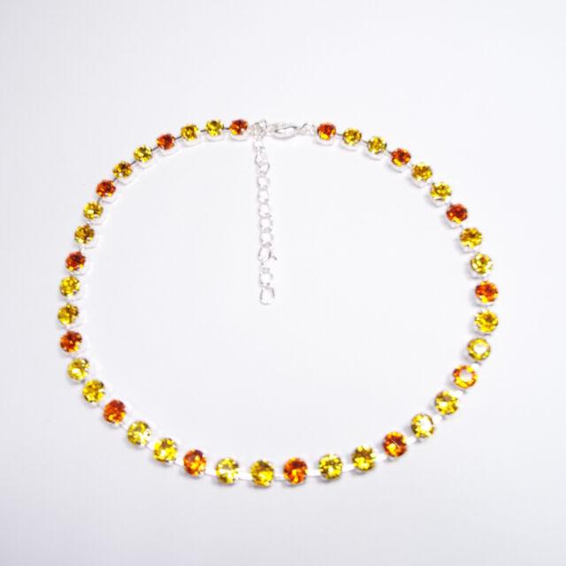 Damen Halskette Collier Tennis 925 Silber Versilbert Swarovski Kristalle Gelb c