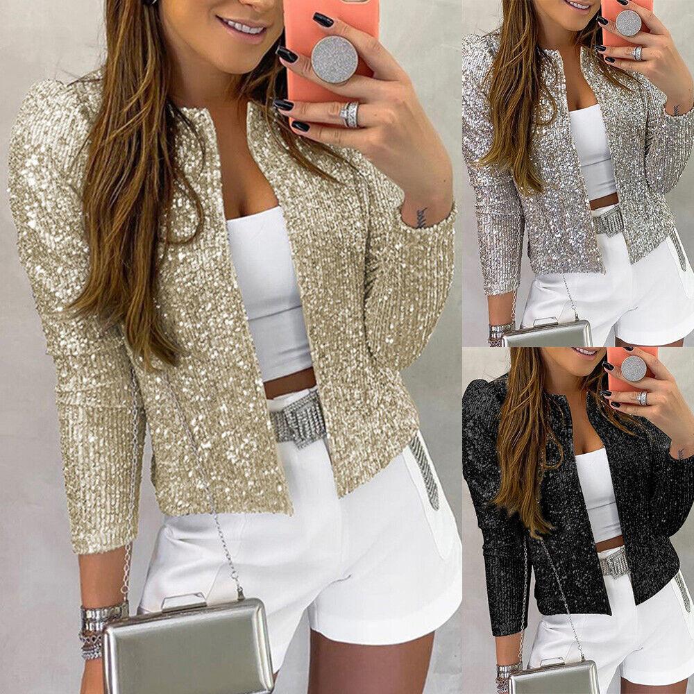 Womens Sequin Blazer Jacket Ladies Front Open Coat Suit Clubwear Party Outwear
