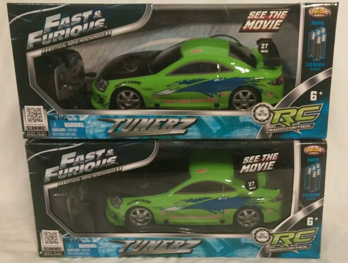 Lot of 2  FAST AND FURIOUS  TUNERZ 1/24 NKOK RC CARS Brian's Eclipse  both NISB