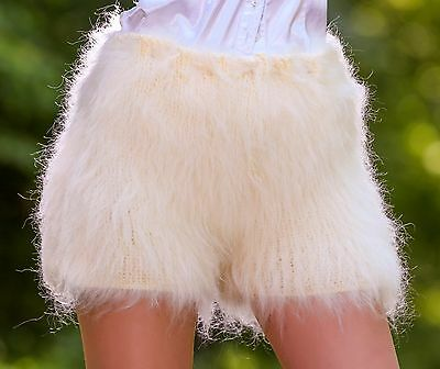 IVORY CREAM Hand Knitted Mohair Pants Fuzzy Soft Furry Shorts SUPERTANYA S M L
