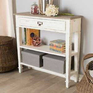 Details About Rustic Vintage Console Table W/Drawer U0026 2 Shelves, Distressed  White Shabby Chic