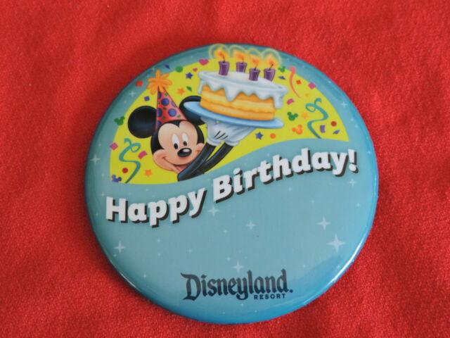Disneyland 3 Happy Birthday Button Pin Disney Parks Souvenir Mickey
