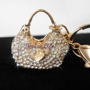 Image Is Loading Rhinestone Bling Keychain Crystal Handbag Purse Charm Car