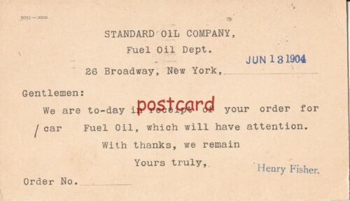 1904 STANDARD OIL CO 1 Car Fuel Oil ordered by Farr Alpaca Co, Henry Fisher