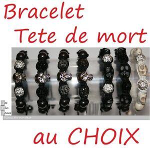 Bracelet-STYLE-SHAMBALLA-hematite-Ball-DISCO-amp-Skull-Skull-NEW-of-your-choice