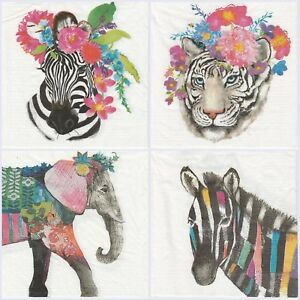 Details about 4x Paper Napkins for Decoupage Decopatch Craft Regalia  Animals Mix