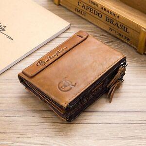 Herren-Geldboerse-Echt-Leder-Portemonnaie-mit-Reissverschluss-Brieftasche-Braun-DE