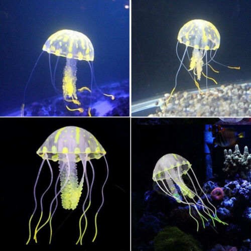 Silicone Artificial Fish Tank Aquarium Glowing Coral Soft Jellyfish Ornament Dec