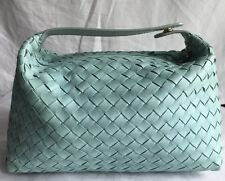 BOTTEGA VENETA AUTHENTIC WOMENS SMALL TOTE  SOFT MT GREEN WOVEN LEATHER HANDBAG