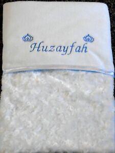 Luxurious Personalised Crowns Baby Blanket Embossed Rosebud Blue Baby Boy Gift