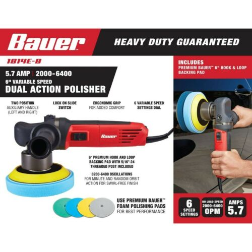 5.7 Amp Heavy Duty Dual Action Variable Speed Polisher Bauer 6 in