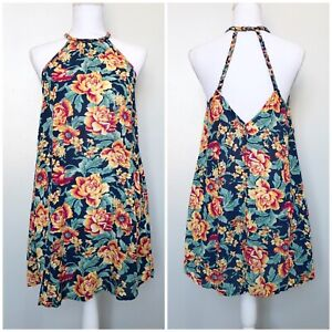 American-Eagle-AEO-Womens-Dress-Blue-Floral-Braided-Back-Shift-Halter-Small