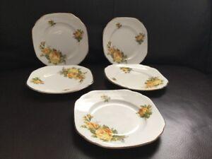 Vintage-Diamond-China-5-Yellow-Rose-Tea-Side-Plates-15cm