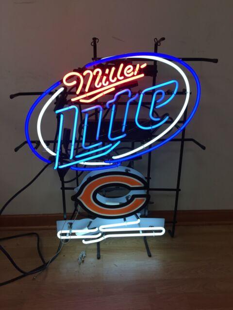 Chicago Bears Miller Lite Beer Large Neon Sign